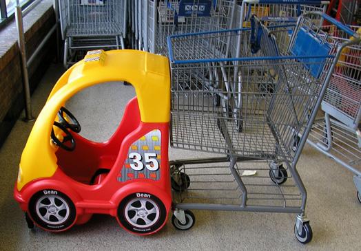 race car shopping carts